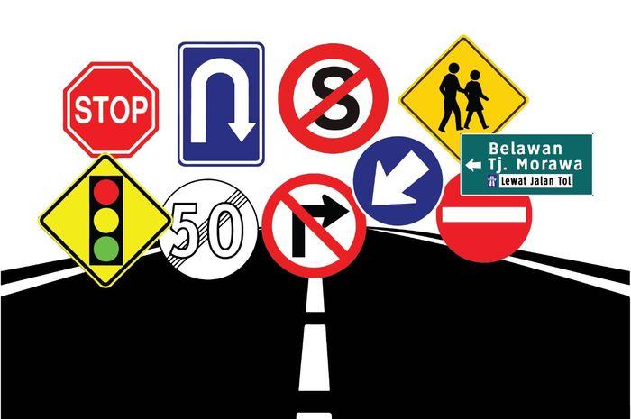 ilustrasi: kumpulan rambu lalu lintas yang memiliki berbagai warna dan arti.