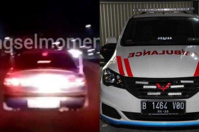 Potret ambulans dan mobil sedan yang viral di media sosial karena diduga si pengendara sedan menghalangi ambulans, di kawasan Gaplek, Pamulang, pada Selasa (27/7/2021)