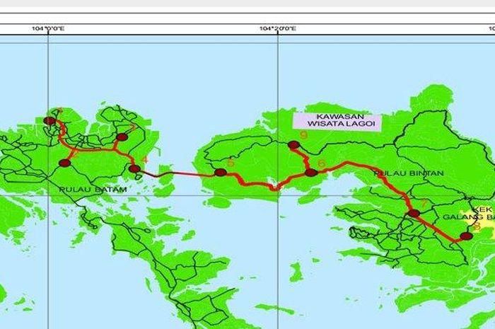 Ilustrasi jalan tol Batam-Bintan yang dihubungkan dengan Jembatan Batam Bintan.