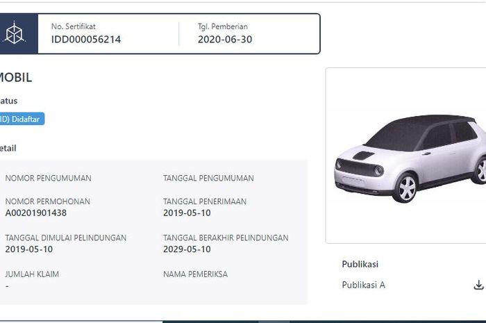 Paten Honda e terpantau sudah terdaftar di Indonesia.