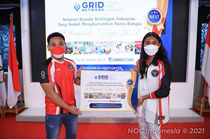 Penyerahan akses gratis e-Magazine dari Grid Network kepada kontingen Indonesia di Olimpiade Tokyo 2020