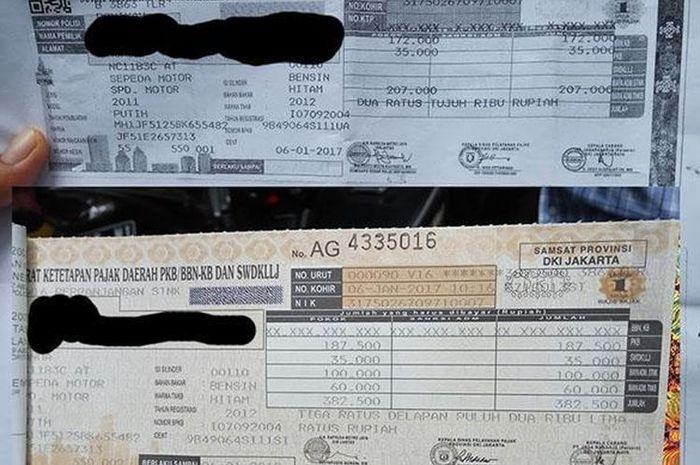 Contoh STNK yang mengalami biaya kepengurusan baru ditambah pajak progresif roda dua(Otomania/Setyo Adi)