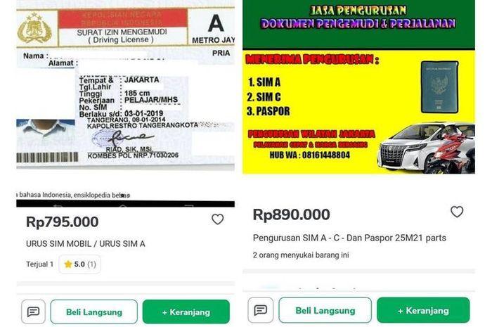 Jasa pembuatan SIM menawarkan diri lewat Tokopedia