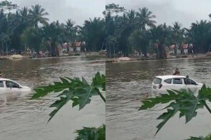 Daihatsu Sigra tenggelam di Sungai