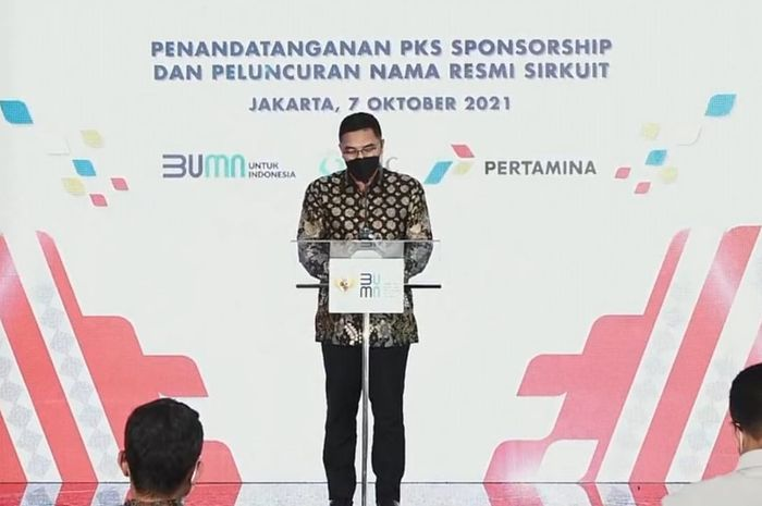 Abdulbar M. Mansoer saat menjalani konrensi pers penamaan sirkuit Mandalika jelang WSBK Indonesia.