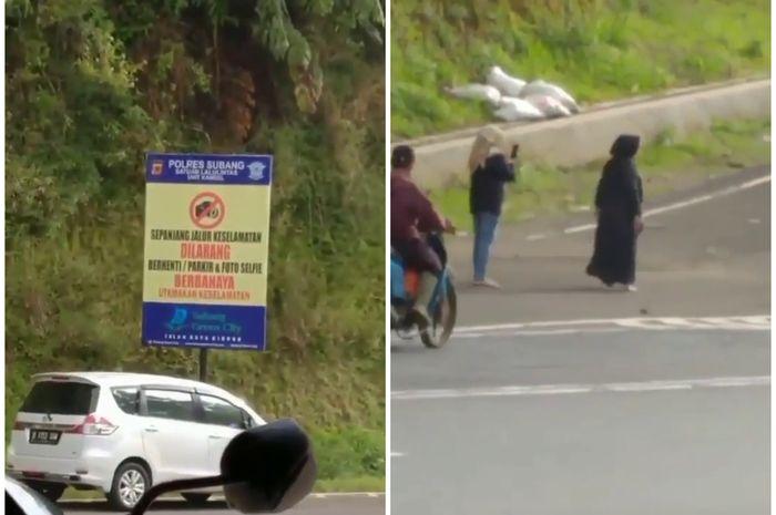 Viral emak-emak parkirkan Suzuki Ertiga miliknya buat foto-foto di dekat jalur penyelamat.