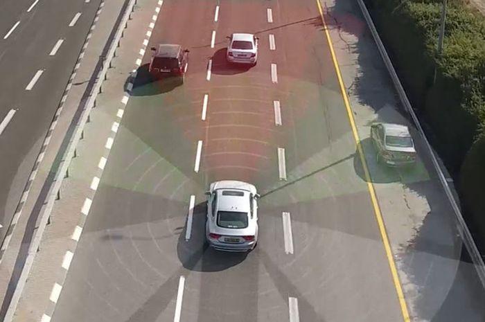 Ilustrasi mobil dengan fitur autonomous driving