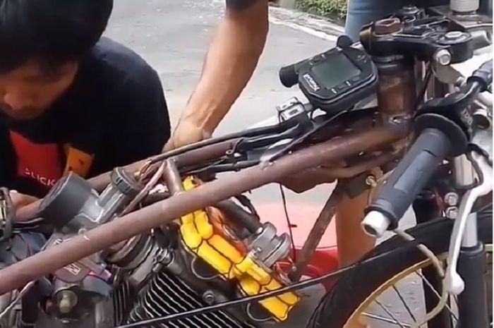 Tidak Dipotong Motor Drag Suzuki Satria Fu Ini Pakai Rangka Kustom Gridoto Com