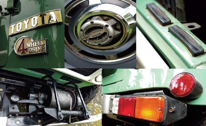 Semua pernakpernik yang menempel masih seperti aslinya. Termasuk karet yang berada di setiap ujung pintu. Aksesori tambahan yang terlihat adalah winch PTO orisinal. Dimana peranti ini dipasang di atas bumper orisinal Toyota FJ40.