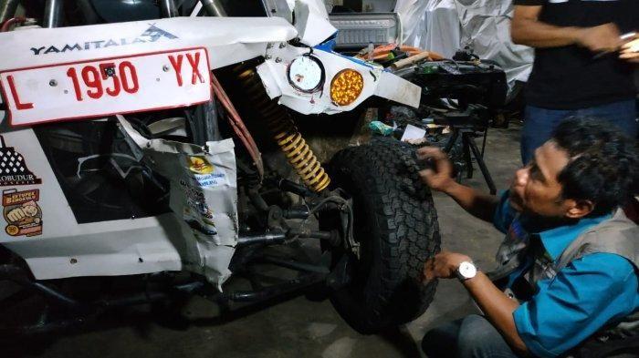 Kondisi mobil mobil listrik Blits pasca mengalami laka saat laka menjelang masuk Kota Medan.
