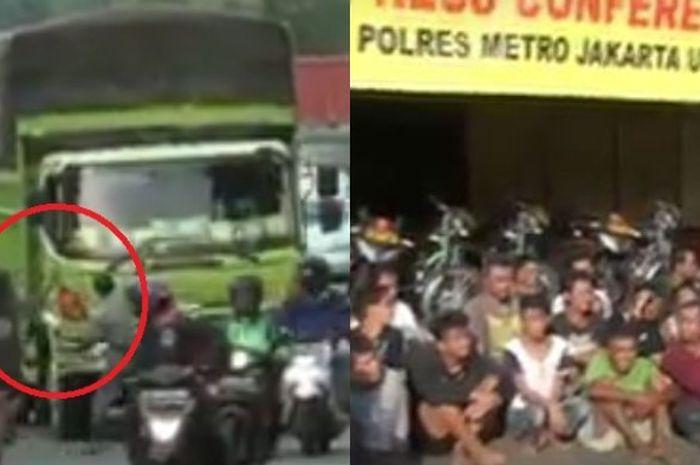 Aksi kejahatan sekelompok pria mengahadang truk