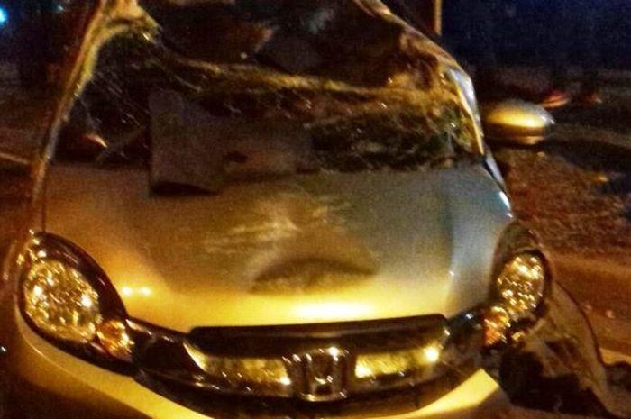 Honda Mobilio menabrak pohon hingga ringsek