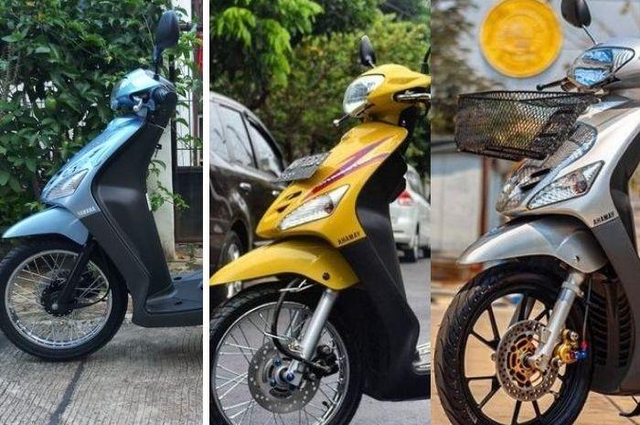 Kolase foto, tiga warna Yamaha Mio jadul yang mulai langka