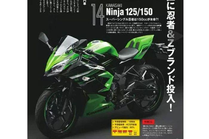 Gambar Kawasaki Ninja 125 yang dibocorkan oleh media asal Jepang.(istimewa)