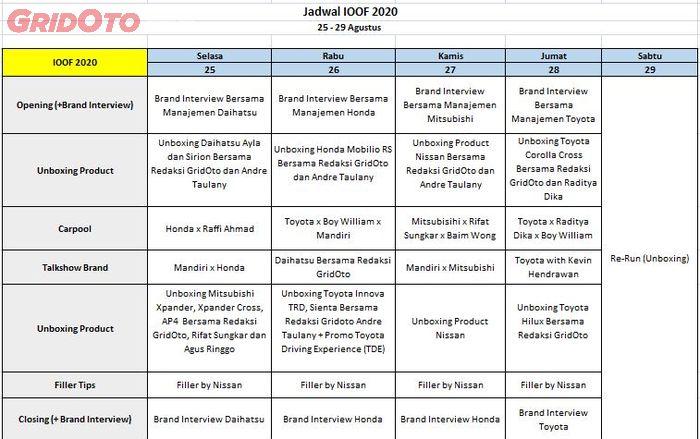 Jadwal Lengkap Indonesia Otomotif Online Festival (IOOF) 2020.