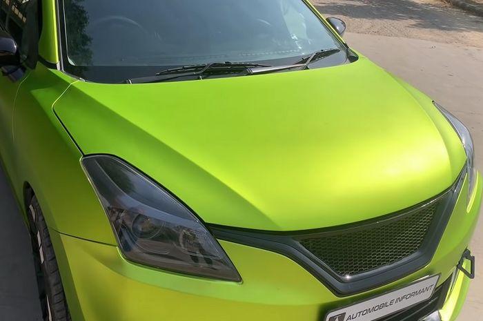 Body Wrapping Lime Green Matte Chrome membungkus Suzuki Baleno