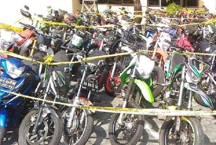 Puluhan motor disita Polres Gunungkidul karena menggunakan knalpot brong.
