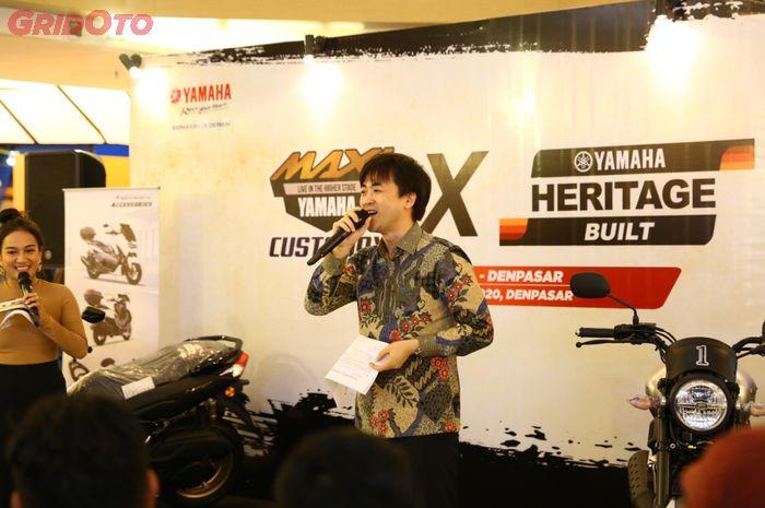 Hiroshi Takeyama, salah satu BOD(deputy director) di PT Yamaha Indonesia Motor Manufactur(YIMM), hadir di Customaxi Bali