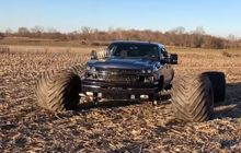 chevrolet silverado pakai spacer custom 'ngancing' ban truk monster, berakhir ngenes!