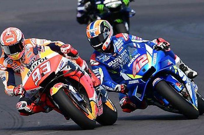 duel Alex Rins dan Marc Marquez di MotoGP Inggris 2019,