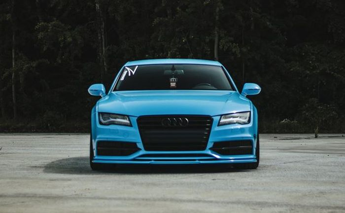 The front view of the modified Audi A7 is blue
