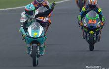 Hasil Moto3 San Marino 2021 - Sempat Kesulitan Kejar Romano Fenati, Dennis Foggia Akhirnya Menang, Andi Gilang Gagal Raih Poin