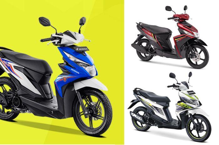 Skutik entry level Honda BeAT (latar kuning), Yamaha Mio M3 (latar putih atas), Suzuki Nex II (latar putih bawah)