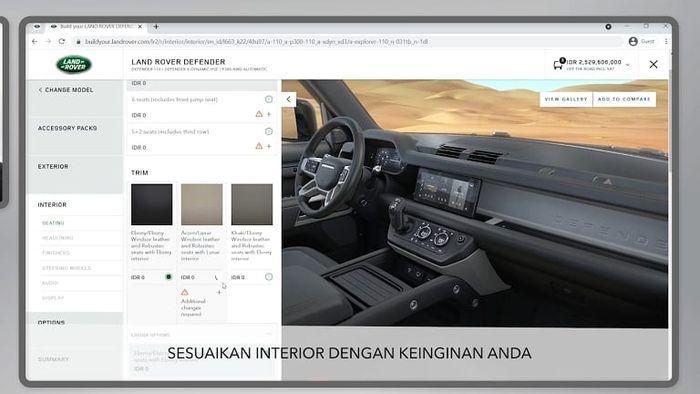 Fitur live configuration di model Land Rover
