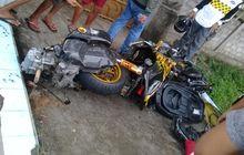 gara-gara honda supra, yamaha xmax remuk tak berbentuk, mesin hampir copot dari motor