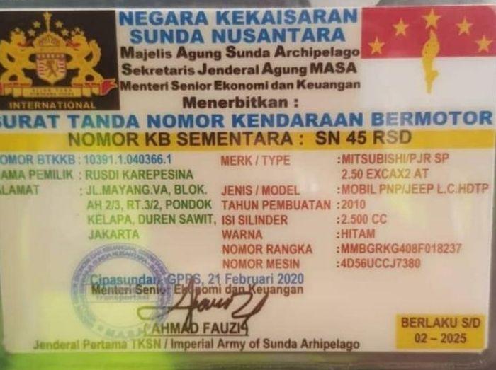 Surat tanda nomor kendaraan palsu Sunda Nusantara
