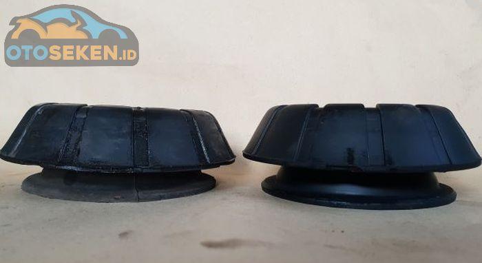 Perbedaan tinggi karet support sok yang sudah aus (kiri) dengan yang baru (kanan).