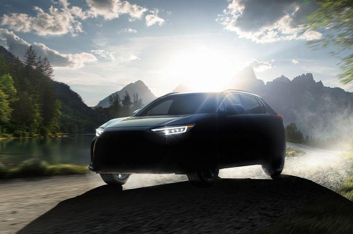 Siluet mobil listrik baru Subaru Solterra.