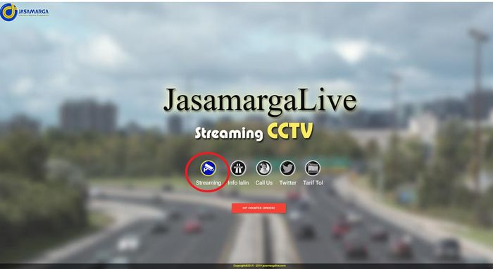 Tampilan beranda jasamargalive.com, pilih menu Streaming  (lingkaran merah)
