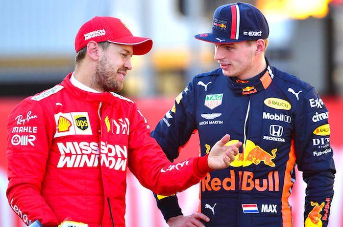 Kompak! Sebastian Vettel dan Max Verstapen pertanyakan penalti yang diterima Lewis Hamilton saat tampil di F1 Rusia 2020