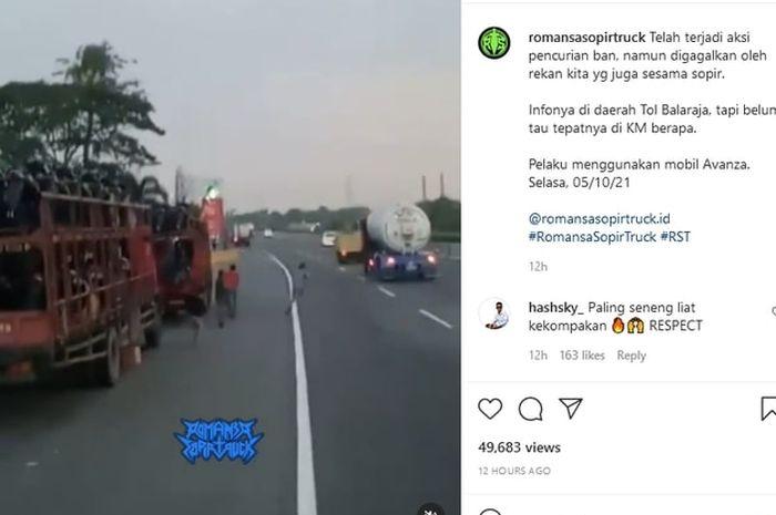 solidaritas sopir truk gagalkan aksi kriminal pencurian ban serep di jalan tol