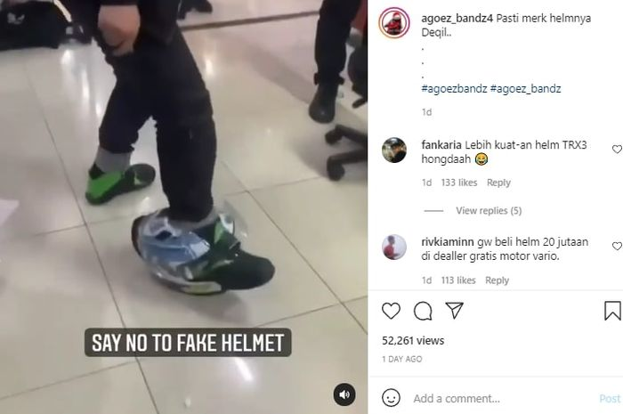 tangkapan layar video viral helm palsu Valentino Rossi diinjak langsung ambyar