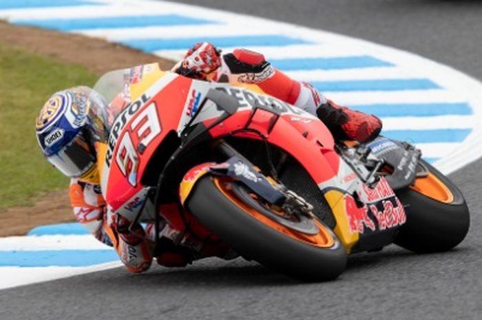 Marc Marquez konsisten dengan catatan waktu yang cepat pada sesi pemanasan MotoGP Jepang (20/10)