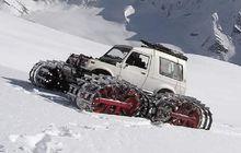 Suzuki Jimny Tampil Unik Pakai Roda Ala Tank, Siap Main Salju!