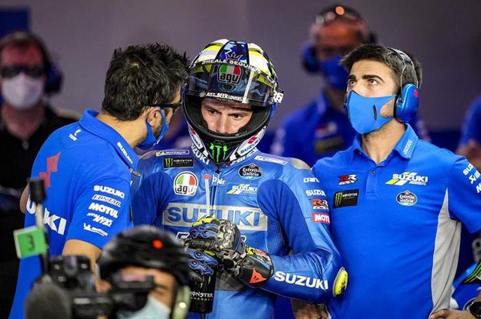 Joan Mir (tengah) kembali bidik bisa podium pada balapan MotoGP Doha 2021 dari baris ketiga.