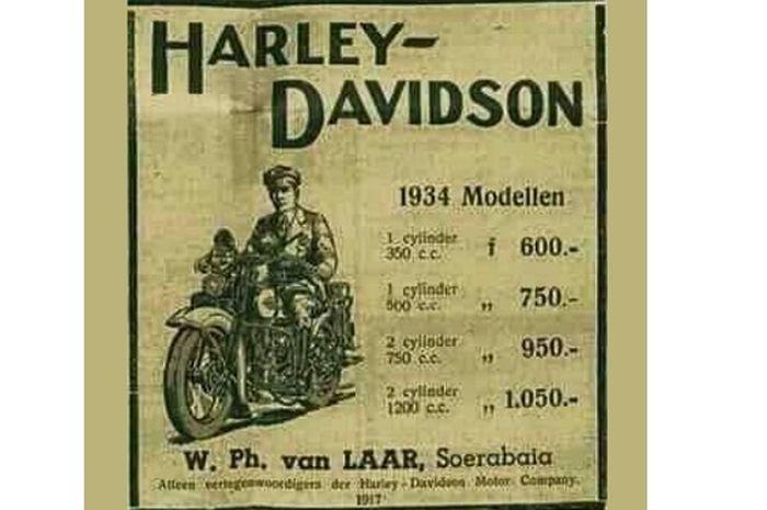Daftar harga Harley-Davidson model 1934 diunggah akun Facebook Andri Van Der Mayde ke grup KENDARAAN UMUM DAN MILITER ZAMAN DULU (OLD VEHICLES)