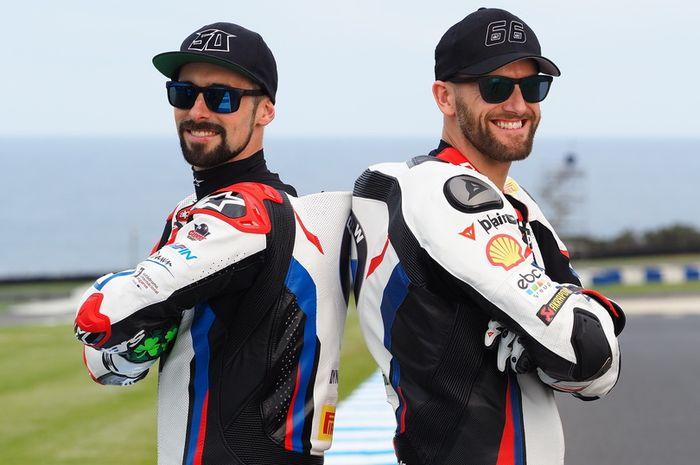 Pembalap tim BMW Motorrad WorldSBK, Eugene Laverty dan Tom Sykes